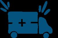 A blue ambulance car